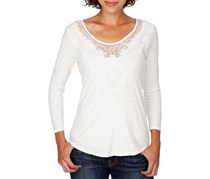 Lucky Brand Women's Lace-Applique Top, Off White
