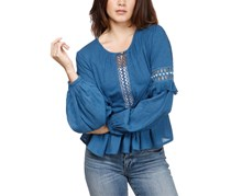 Lucky Brand Cutout Illusion Peasant Top, Blue