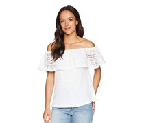 Lucky Brand Cotton Crochet-Detail Off-The-Shoulder Top, Lucky White