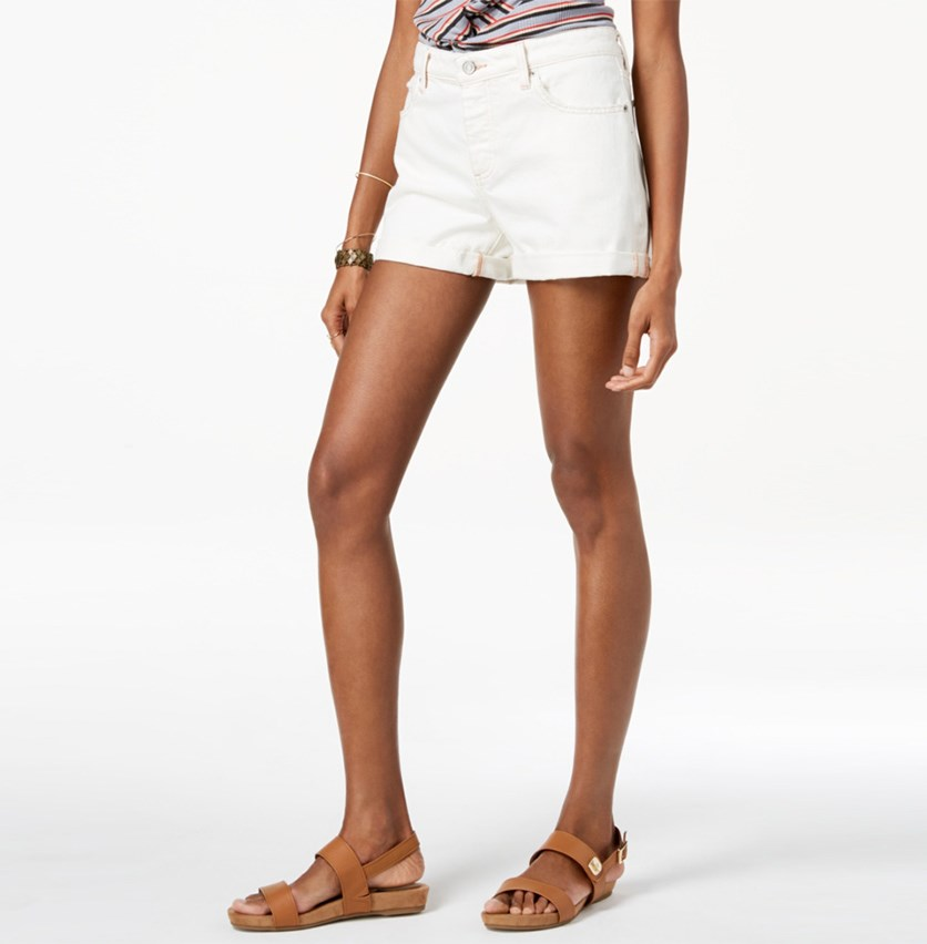 Women's Cotton Cuffed Boyfriend Shorts, Ivory