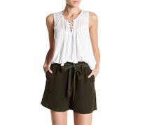 Lucky Brand Women's Lace-Up Washed Tank, White