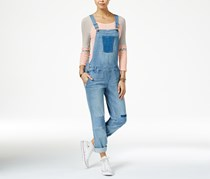 American Rag Patched Malfa Wash Denim Overalls, Blue