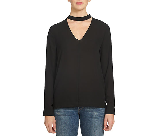 1.state Band Collar Cutout Blouse, Black