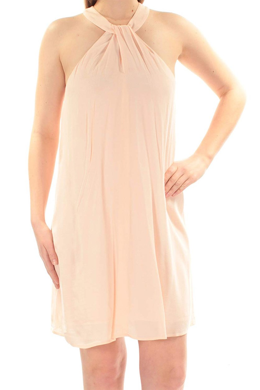 Women's Halter Neckline Shift Dress, Dawn Blush