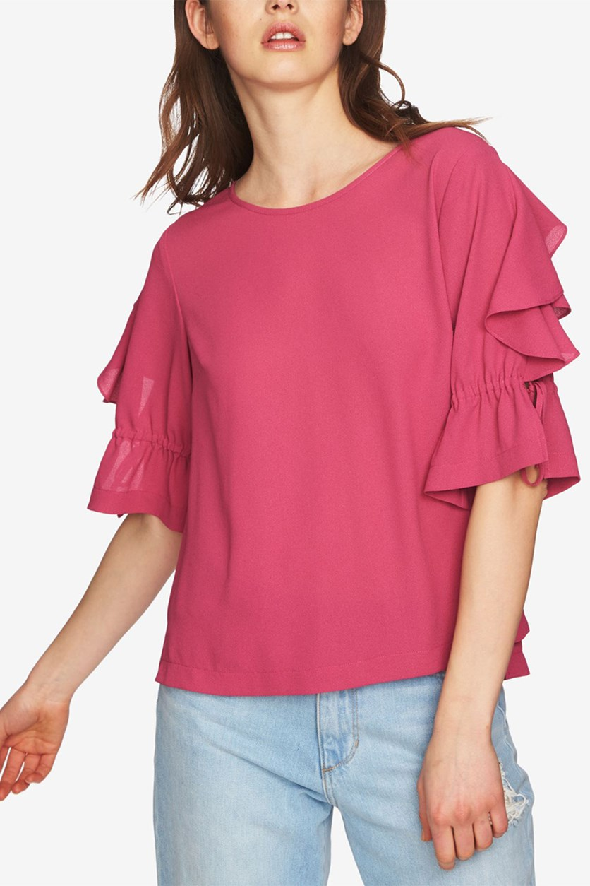 Ruffled Tie-Sleeve Top, Magenta