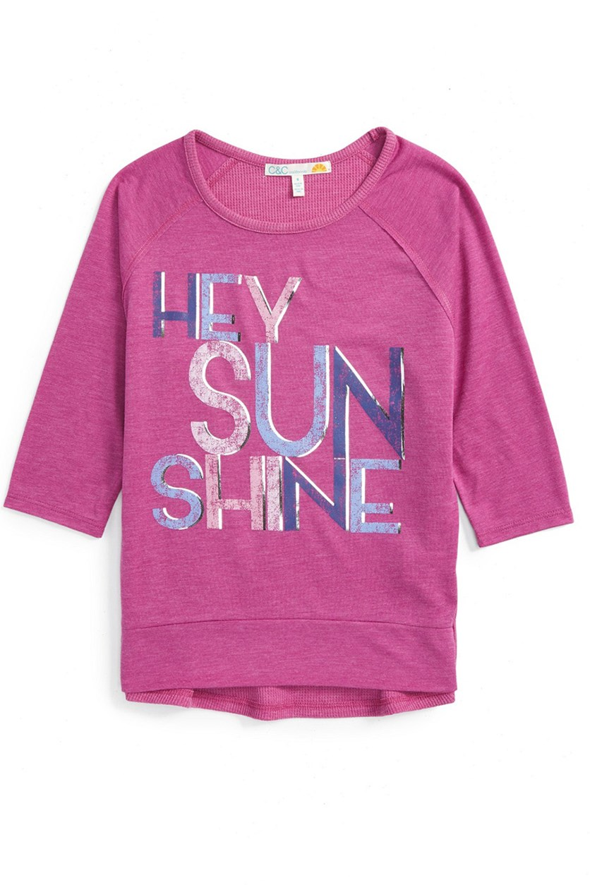 C & C California Girl's Graphic Tee, Rapsberry