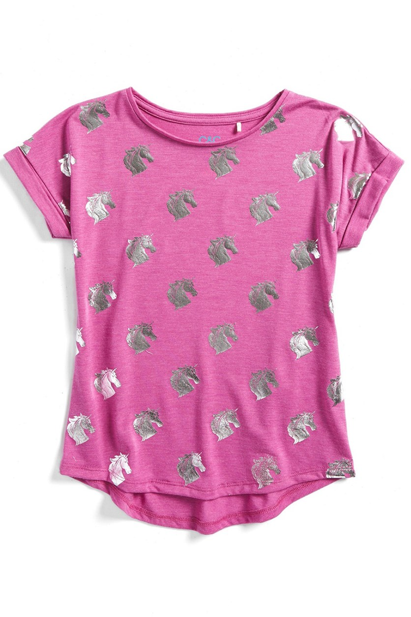 C & C California Girl's Foil Print Tee, Rapsberry
