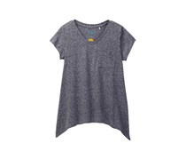C&C California Big Girl's Jersey Tee with Sharkbite Hem, Medium Grey Heather