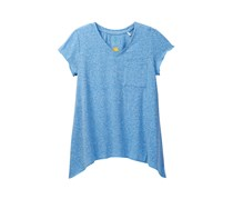 C&C California Big Girls Jersey Tee with Sharkbite Hem, Blue Heather