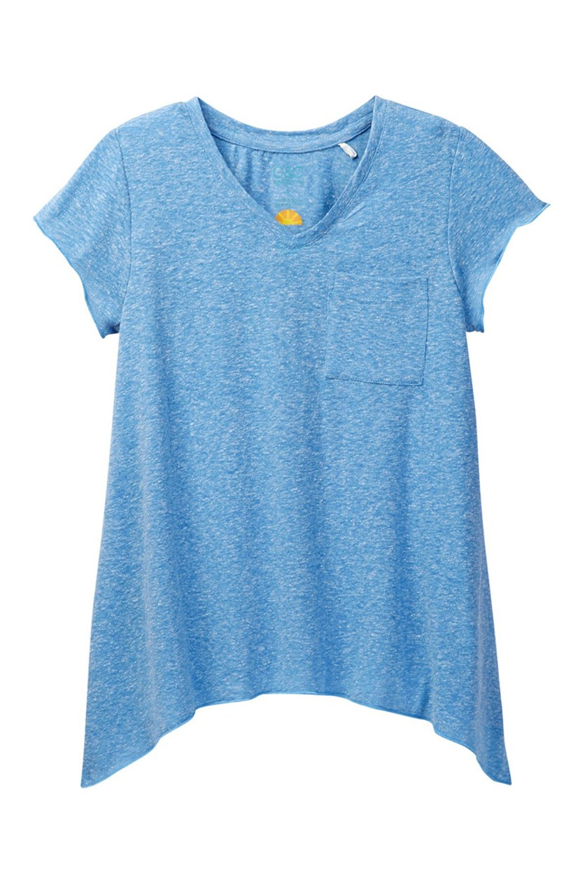Big Girls Jersey Tee with Sharkbite Hem, Blue Heather