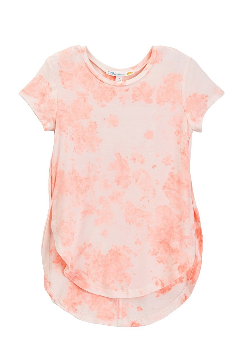 Big Girls Tie Dye Tee, Pop Coral