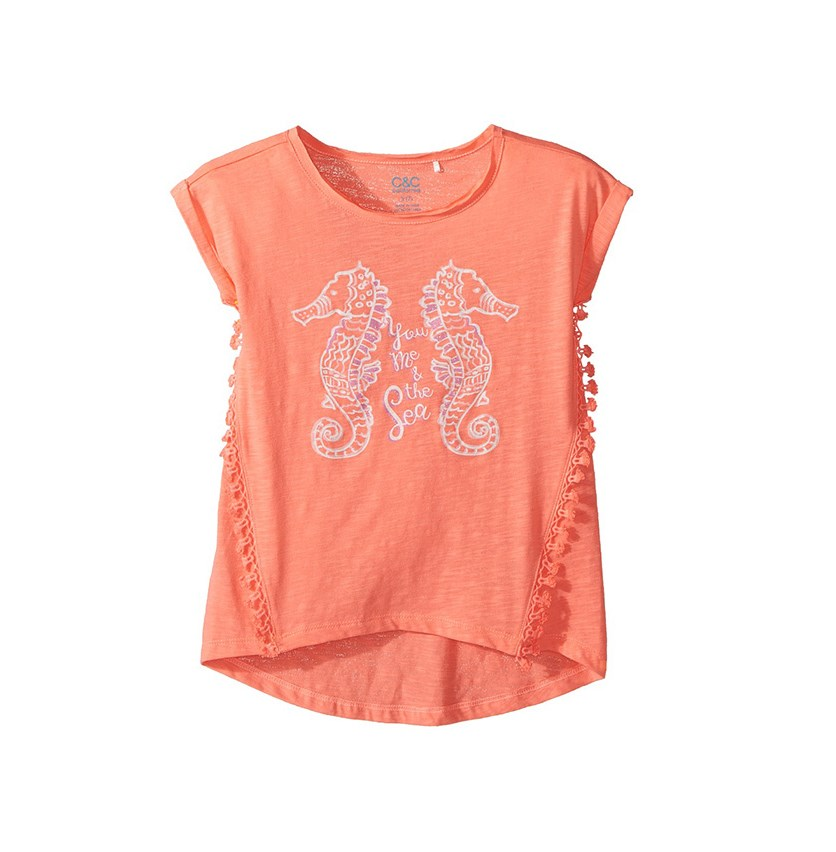 C & C California Girl's Seahorse Top, Pop Coral