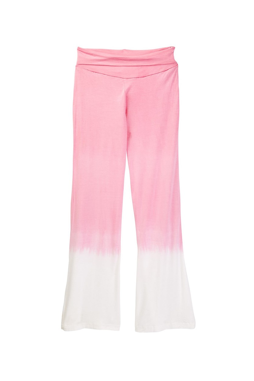 Big Girl's Flared Pants, Pink/White