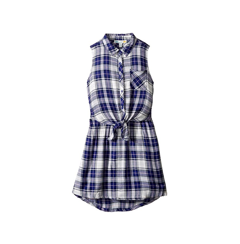 Girls Tie-front Shirtdress, Navy