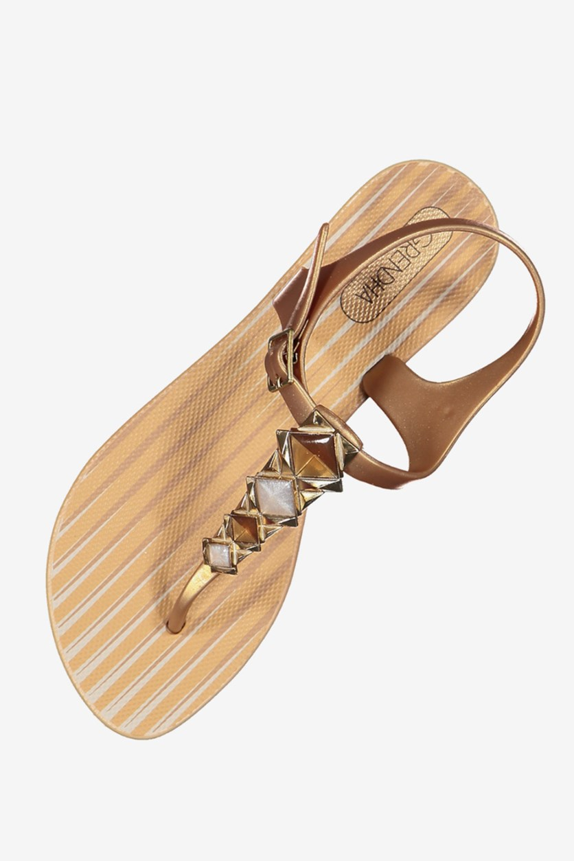 Women Grendha Jewel II Sandals, Beige/Gold