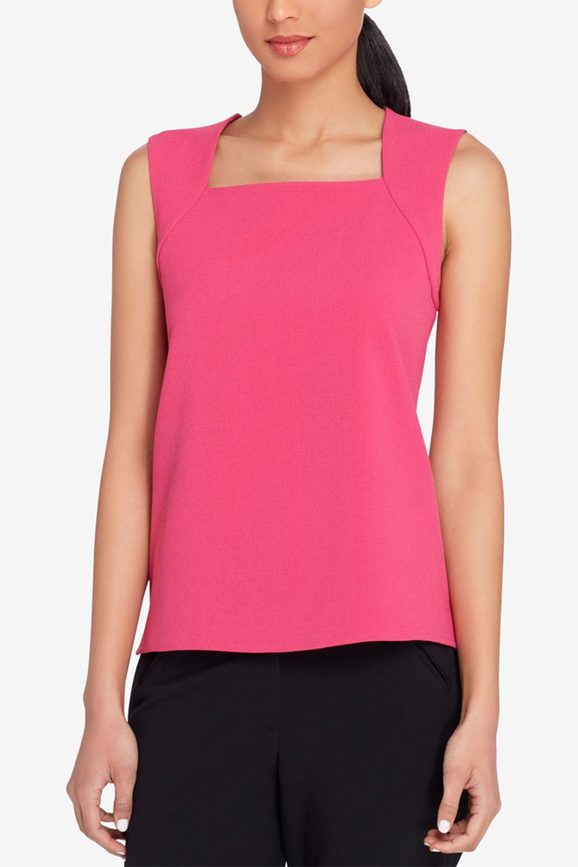 ASL Square-Neck Crepe Shell Top, Fuchsia