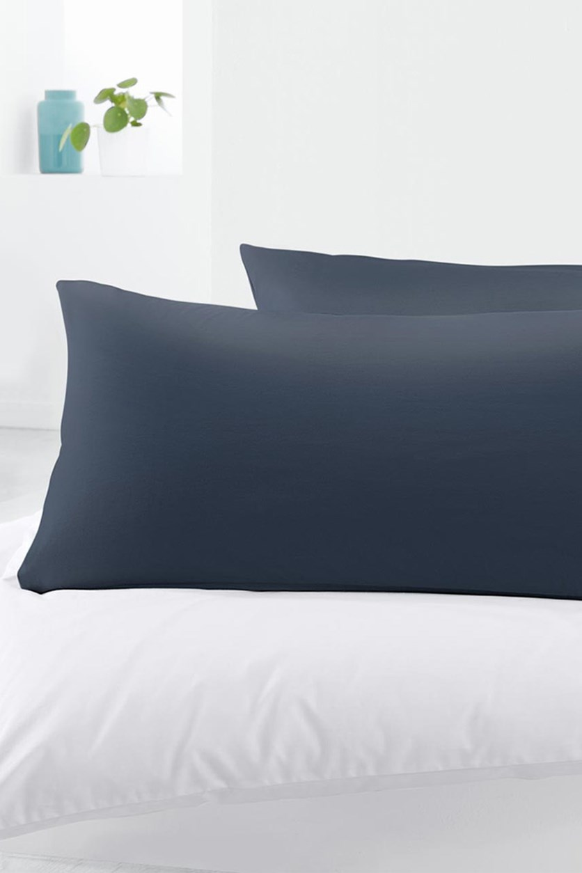 Jersey Pillowcases Set Of 2, 80x40 cm, Navy Blue