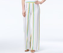 XOXO Women's Striped Wide-Leg Pant, White/Yellow