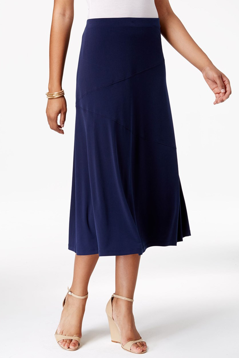 Women's Petite Diagonal-Seam Midi Skirt, Intrepid Blue