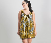 Women Sequined Tulle-Trim Tank Dress, Gold/Silver