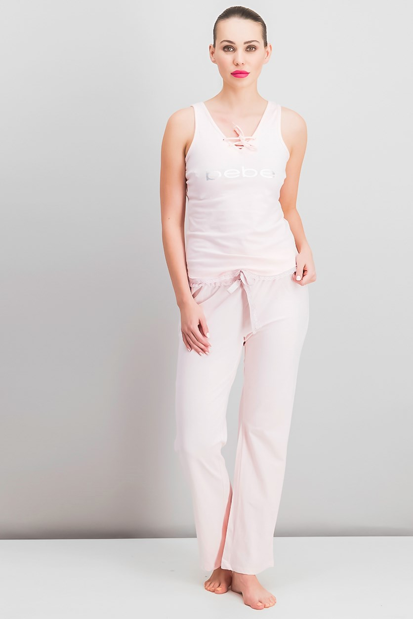 Metallic Print Logo Sleeveless Pajamas Set, Pink