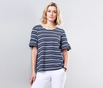 Women's Jerseyshirt Top with Frill Sleeves, Navy Blue