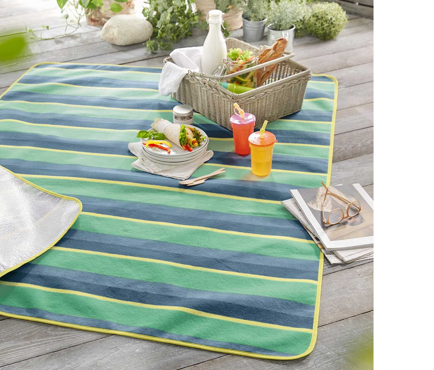Picnic Blanket, Green/Blue
