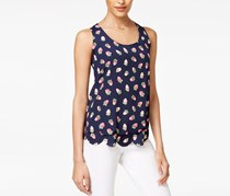 Maison Jules Strawberry-Print Scalloped-Hem Top, Navy