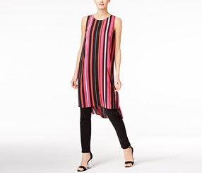 Vince Camuto Striped High-Low Tunic, Festive Pink