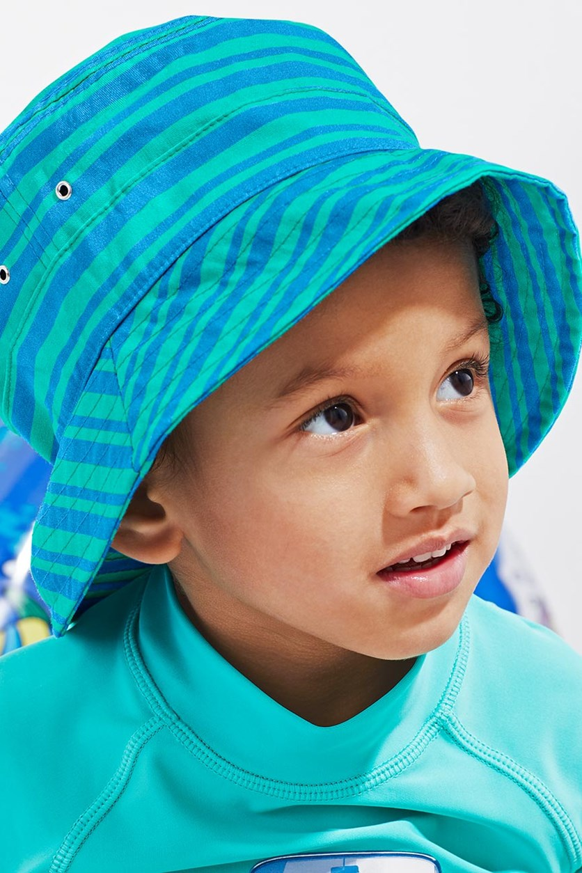 Boy's Sun Hat, Blue/Turquoise Striped