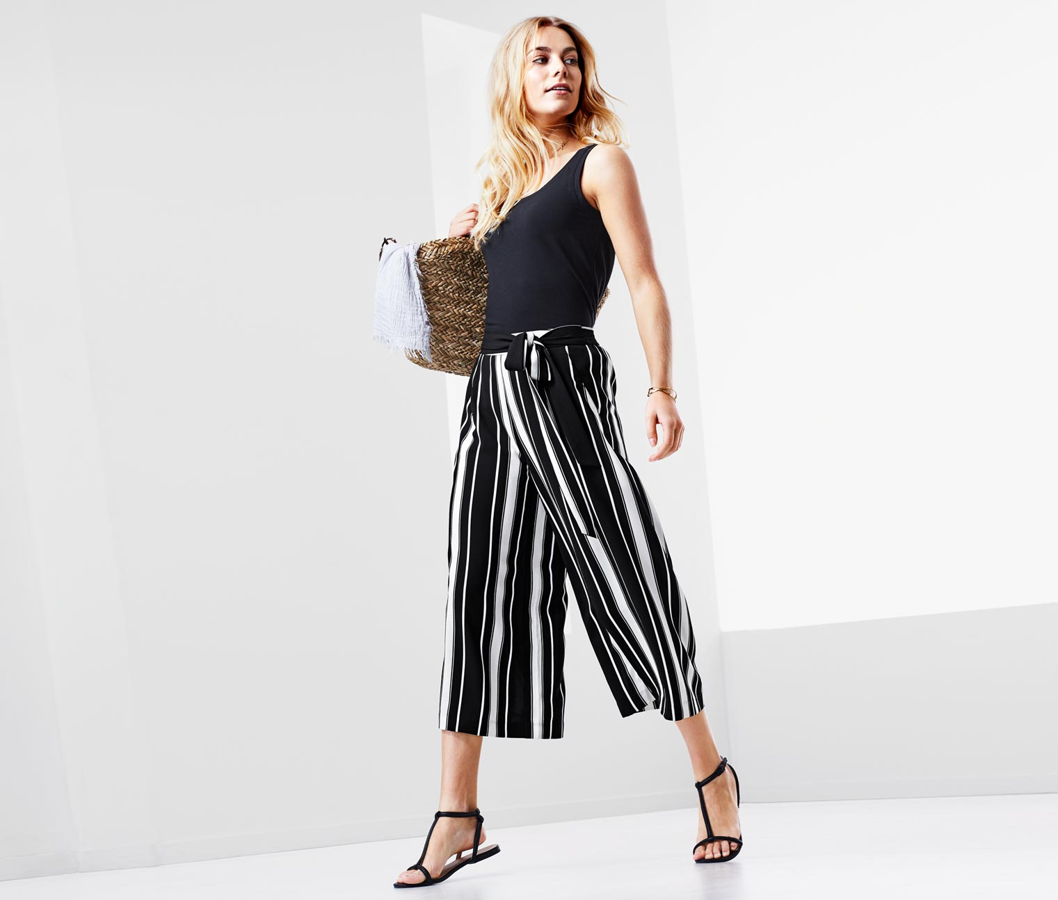 Women's Palazzo Pants, Black/White