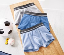 Boy's 3 Pairs Of Boxer Briefs, Blue/White