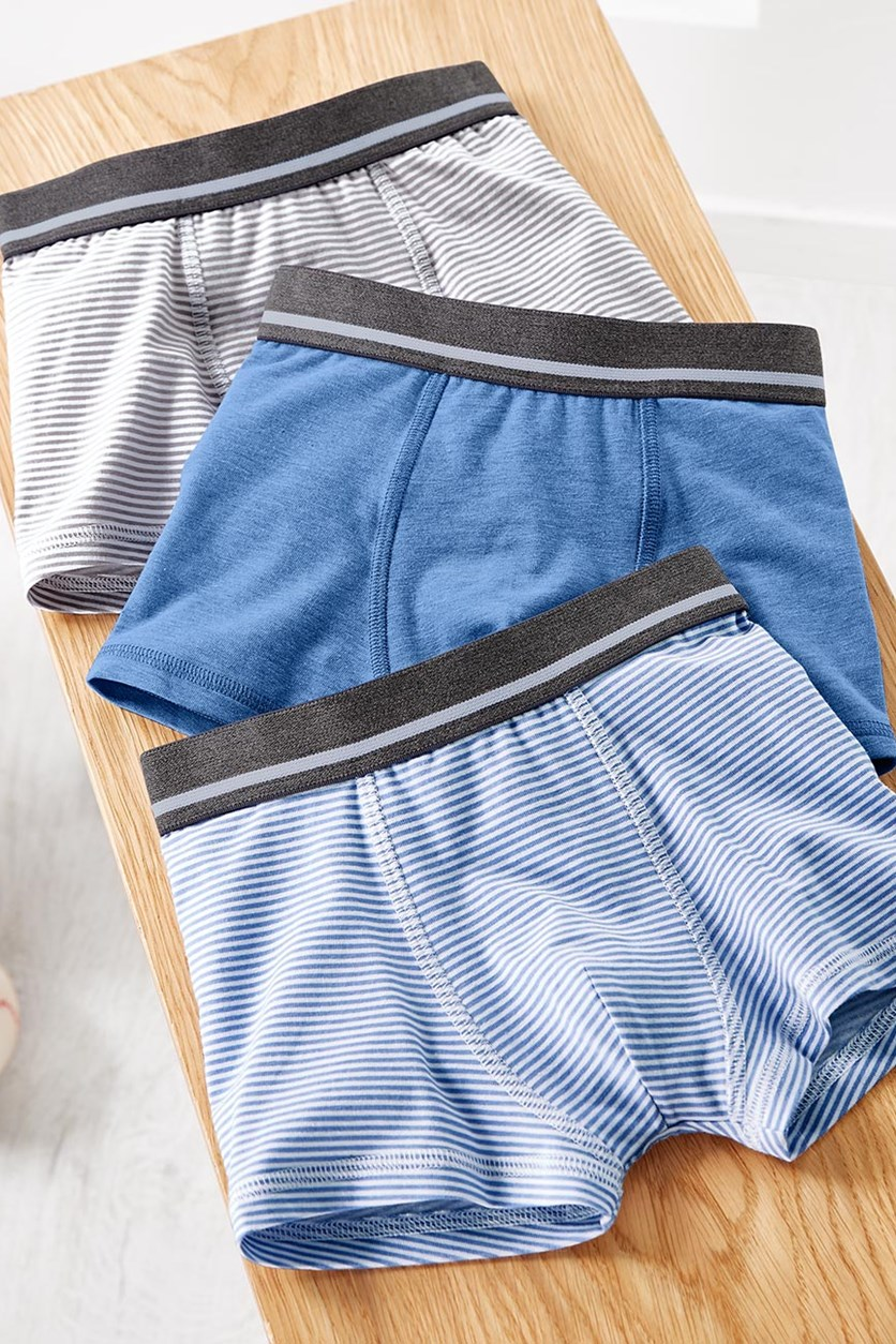 Kids Boys Boxer Brief Set of 3, Blue/Grey/White
