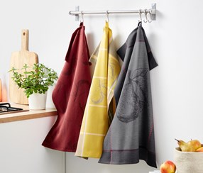 3 Jacquard Tea Towels, Yellow/Gray/Burgundy