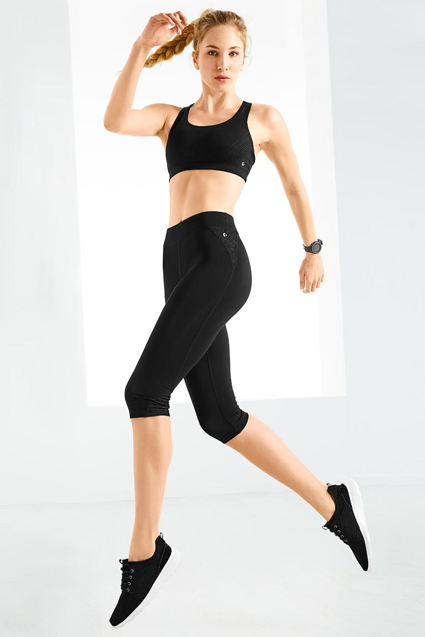 Women's 3/4 Sports Tights, Black