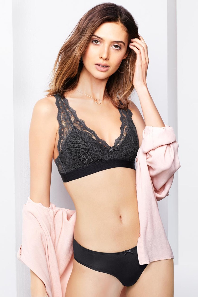 Women's Lace Crop Top Bra, Black