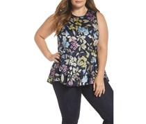 Vince Camuto Country Floral Ruffle Hem Top, Night Sky Combo