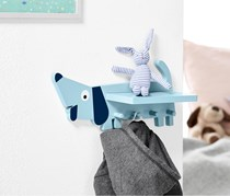 Wall Hooks with Shelf, Light Blue