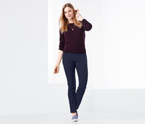 Women's Ankle-Length Stretch Pants, Navy