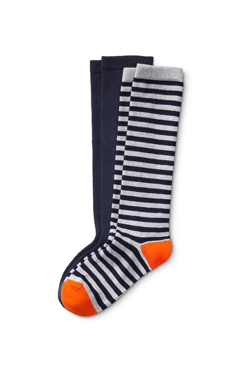 Kids Knee Socks, Navy/Grey