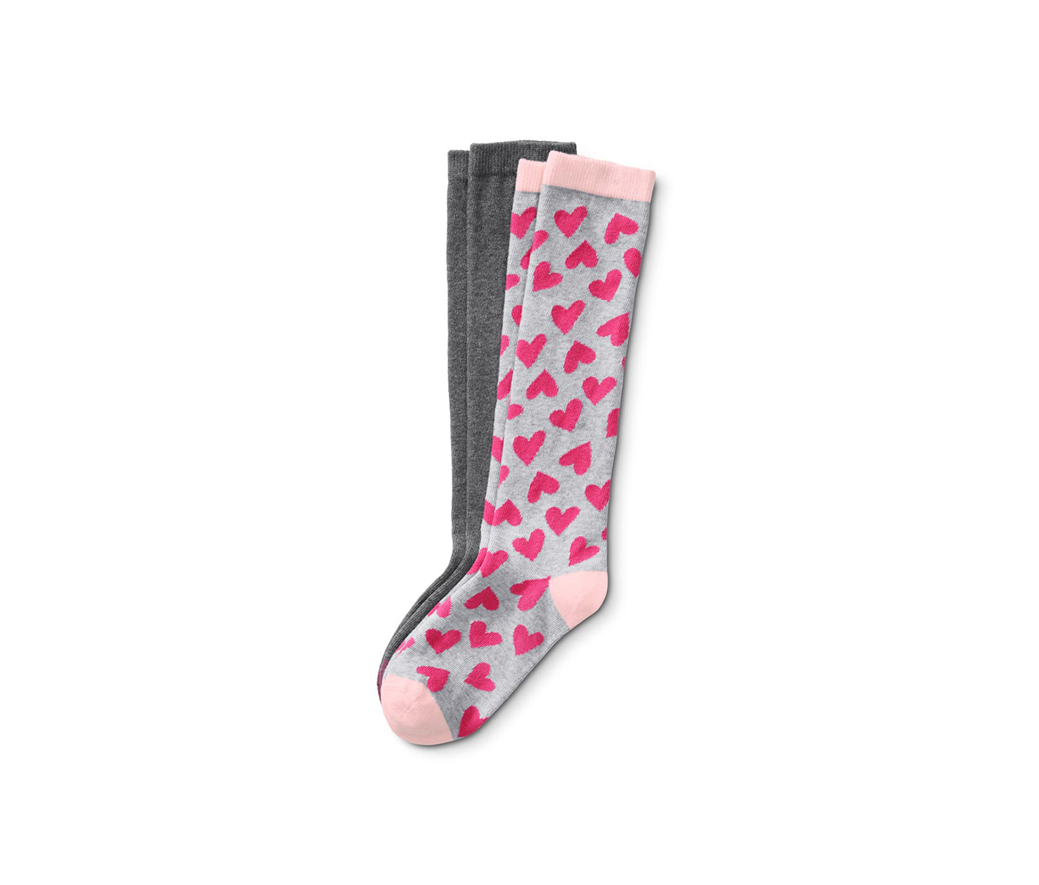 Girl's Knee Socks, Grey/Pink