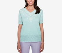Alfred Dunner Roman Holiday Beaded Pointelle Top, Mint