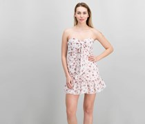 The East Order Lila Ruched Floral-Print Mini Dress, Pink