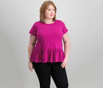 Women Plus Size Cotton Ruffle Top, Hollyhock Dark Pink