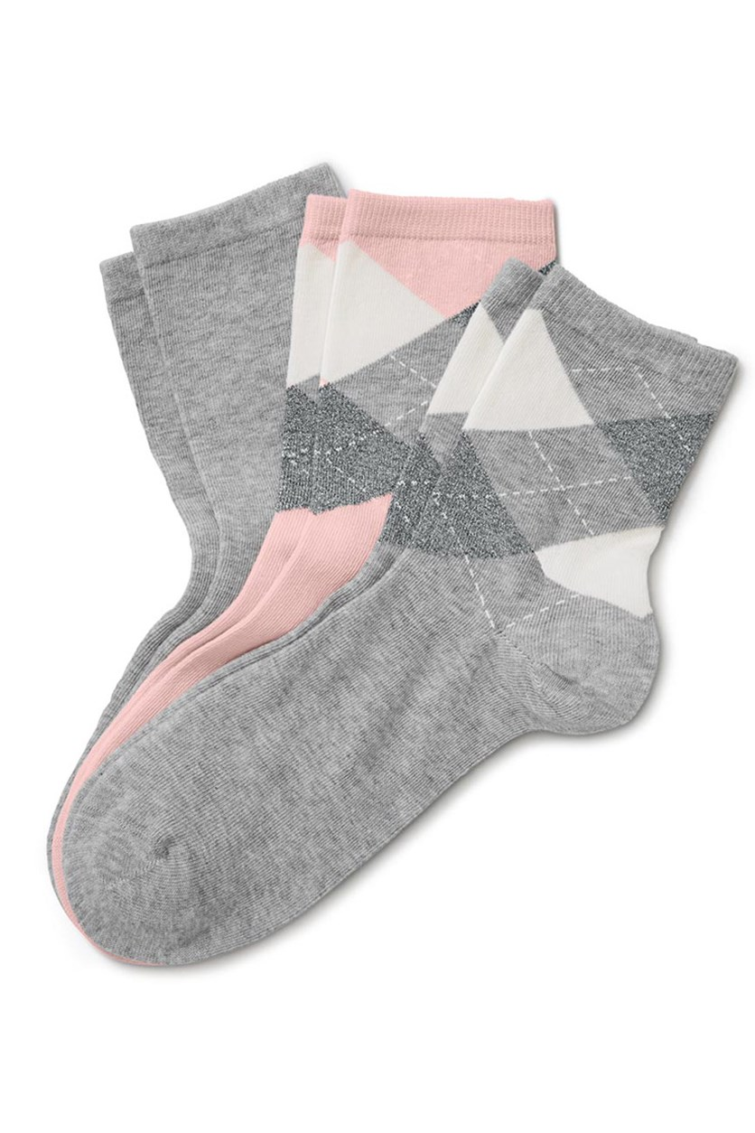 Women's Socks Set Of 3, Gray/Pink