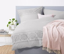 Reversible Percale Duvet Set, 135x200 cm, Gray