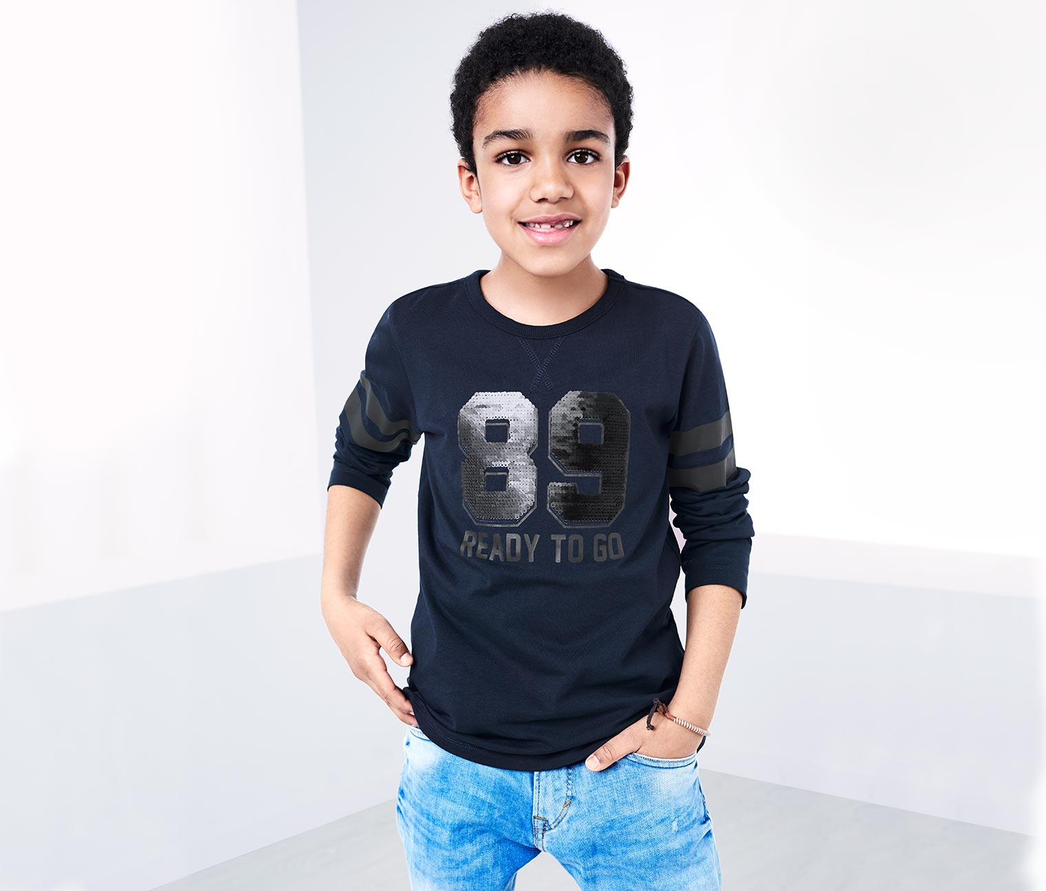 Boy's Long-Sleeve Top with Reversible Sequins, Navy