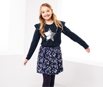 Girls Long-Sleeved Top with Reversible Sequins, Navy