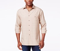 Campia Moda Men's Texture Windowpane Long-Sleeve Shirt, Natural