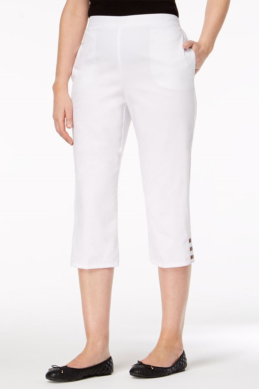 Petite Turks & Caicos Embellished Ladder-Hem Capri Pants, White